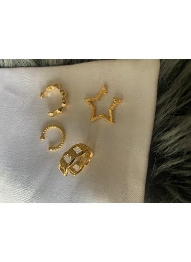 Modd Takı Gold Renkli Kıkırdak Küpe Seti Moddkpe05 Altın